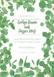 Wedding invite invitation menu card vector floral greenery desig. N: forest Eucalyptus branches & green leaves foliage greenery frame pattern. Postcard, poster Royalty Free Stock Image