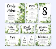 Wedding invite, invitation menu rsvp thank you card vector flora