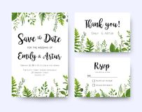 Wedding invite, invitation menu rsvp thank you card vector flora. L greenery design: Forest fern frond, Eucalyptus branch green leaves foliage, herbs greenery Stock Photo