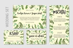 Wedding invite, invitation menu rsvp thank you card vector flora. L greenery design: Forest fern frond, Eucalyptus and boxwood branch green leaves foliage frame royalty free illustration