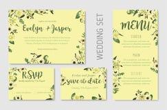 Wedding invite, invitation menu rsvp thank you card vector flora stock illustration
