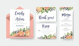 Wedding invite invitation menu thank you rsvp card vector floral. Design with pink peach garden Rose, ranunculus flower eucalyptus forest fern leaves bright Stock Photo