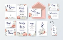Wedding invite, invitation menu, thank you, rsvp, label card vec. Tor floral design with pink peach garden Rose, white peony flower, agonis dusty miller miller Stock Images
