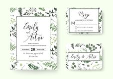 Wedding invite, invitation rsvp card vector floral greenery silhouette design: palm fern tree, foliage natural branches, green le. Aves, herbs, berries tropical stock illustration