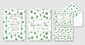 Wedding invite, invitation, rsvp, envelope,  thank you card vect. Or floral greenery design: beautiful leaves of tropical evergreen Eucalyptus, foliage herbs Stock Photo