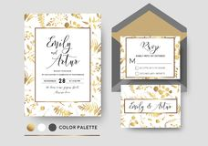 Wedding invite, invitation, rsvp poscard vector stylish chic flo. Ral design; golden foil print pattern of forest leaves, palm, fern fronds, eucalyptus branches Royalty Free Stock Photos