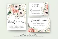 Wedding invite, invitation, rsvp, save the date card design with. Elegant lavender pink garden rose anemone, wax flowers eucalyptus branches leaves, cute golden Stock Photos