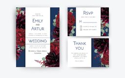 Wedding invite invitation, rsvp, thank you card floral color design. Red rose flowers, dahlias, eucalyptus silver dollar branches royalty free illustration