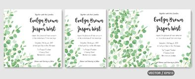Wedding invite, invitation rsvp thank you card vector floral greenery design: evergreen leaf Eucalyptus branch, foliage herbs. Elegant frame border. Watercolor stock illustration