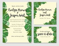 Wedding invite, invitation rsvp thank you card vector floral gre. Enery design. Watercolor cute set. Tropical palm leaves background. card design with jungle Royalty Free Stock Images