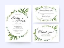 Wedding invite, invitation rsvp thank you card vector floral gre. Enery design: Forest fern frond, palm leaf Eucalyptus branch green berries, foliage herbs Royalty Free Stock Images