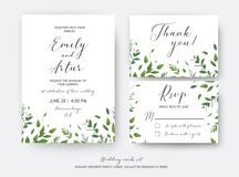 Wedding invite, invitation, RSVP, thank you cards vector art design. Watercolor style green leaves, eucalyptus tree vector illustration
