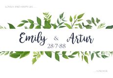 Wedding invite, invitation, save the date card Design with green. Leaves greenery eucalyptus foliage forest bouquet frame. Vector rustic postcard illustration royalty free illustration
