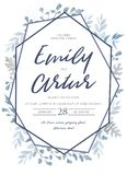 Wedding invite, invitation, save the date card design with light. Watercolor blue color dusty leaves, fern greenery forest herbs, plants & geometric frame Royalty Free Stock Images