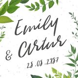 Wedding invite, invitation, save the date card Design with water. Color hand drawn art green color leaves, greenery, foliage forest bouquet, frame. Vector rustic Royalty Free Stock Image