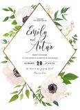 Wedding invite, invitation, save the date card design: white pin. K Anemone poppy flower, green leaves, eucalyptus greenery foliage forest bouquet and golden vector illustration