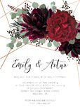 Wedding invite, invitation save the date card floral design. Red. Rose flower, burgundy dahlia, eucalyptus silver dollar branches, berries bohemian wreath with stock illustration