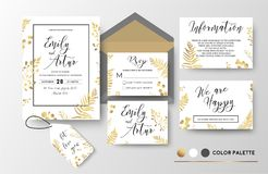 Wedding invite, invitation, thank you, rsvp, label card vector f. Loral design; golden foil print pattern of forest leaves, palm, fern fronds, eucalyptus branch Stock Photography