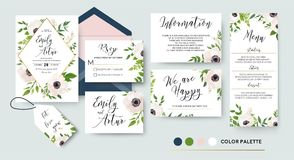 Wedding invite, menu, rsvp, thank you label save the date card D stock illustration
