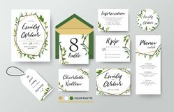 Wedding invite, menu, rsvp, thank you label save the date card Design with forest green leaves various greenery foliage, eucalyptu Royalty Free Stock Photography
