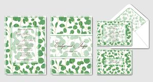 Wedding invite, menu, rsvp, thank you label save the date card,. Envelope Design with forest green leaves various greenery foliage, eucalyptus, geometric frame Royalty Free Stock Image