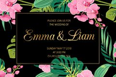 Wedding invite pink orchid flowers jungle leaves. Wedding invitation card template. Pink orchid phalaenopsis flowers. Exotic tropical jungle bright green palm Royalty Free Stock Image
