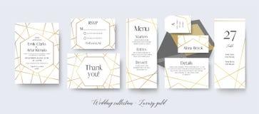 Wedding invite, rsvp, menu, thank you cards delicate design with. Golden foil graphic stripes & geometrical frame. Vintage art geometrical decoration. Elegant Stock Photos