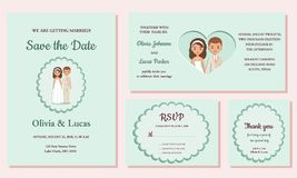 Wedding invitation templates. Greeting cards. Vector illustration. stock illustration