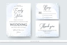 Wedding invite, thank you, rsvp card design set with abstract wa. Tercolor style decoration in light tender dusty blue color on white background. Vector trendy royalty free illustration