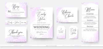 Wedding invite thank you, rsvp menu card design set with abstract watercolor decoration in light tender dusty pink, rosy and viol. Et color on white background vector illustration