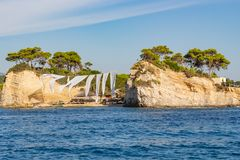 The wedding island Agios Sostis near Zakynthos, Greece royalty free stock images