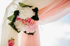 Wedding isle and arch. With weddings chairs and wedding flower decoration Royalty Free Stock Photography