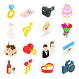 Wedding isometric 3d icons set. Wedding and love celebration isometric 3d icons set. With chapel and rings on a white background Stock Image