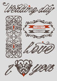 Wedding items clipart. Vector clipart of wedding items stylized as engraving. Solid fill only Royalty Free Stock Photo