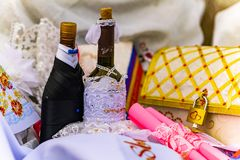 Wedding items, composition of festive paraphernalia for the wedding. Colorful scenery in nature, photo for memory. Represents tenderness and romance of the royalty free stock photos