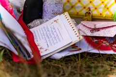 Wedding items, composition of festive paraphernalia for the wedding. Colorful scenery in nature, photo for memory. Represents tenderness and romance of the royalty free stock photo