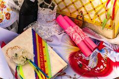 Wedding items, composition of festive paraphernalia for the wedding. Colorful scenery in nature, photo for memory. Represents tenderness and romance of the stock image