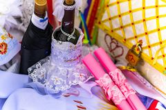 Wedding items, composition of festive paraphernalia for the wedding. Colorful scenery in nature, photo for memory. Represents tenderness and romance of the stock photos