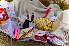 Wedding items, composition of festive paraphernalia for the wedding. Colorful scenery in nature, photo for memory. Represents tenderness and romance of the royalty free stock images