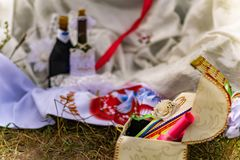 Wedding items, composition of festive paraphernalia for the wedding. Colorful scenery in nature, photo for memory. royalty free stock photos