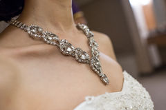 Wedding Jewelry. A beautiful bride's wedding jewelry neck Stock Photo