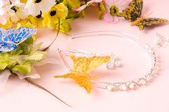 Wedding Jewelry and Wedding bouquet. And Tiara and Stick Royalty Free Stock Image