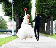 Wedding jump Royalty Free Stock Photo