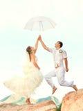 Wedding jump Stock Image
