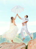 Wedding jump Royalty Free Stock Photo