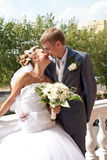 Wedding kiss. Of just married couple