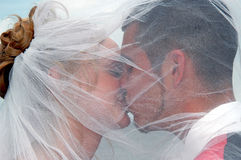 Wedding kiss. A close up of a couple kissing under a veil outdoors Royalty Free Stock Photos