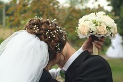Wedding kiss. Tender wedding kiss. Horizontal orientation Royalty Free Stock Photography