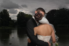 Wedding kiss. Couple kissing on a dramatic scenic of a rainy pond royalty free stock image