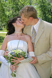 Wedding kiss. Bridegroom and bride are kissed in park Stock Image